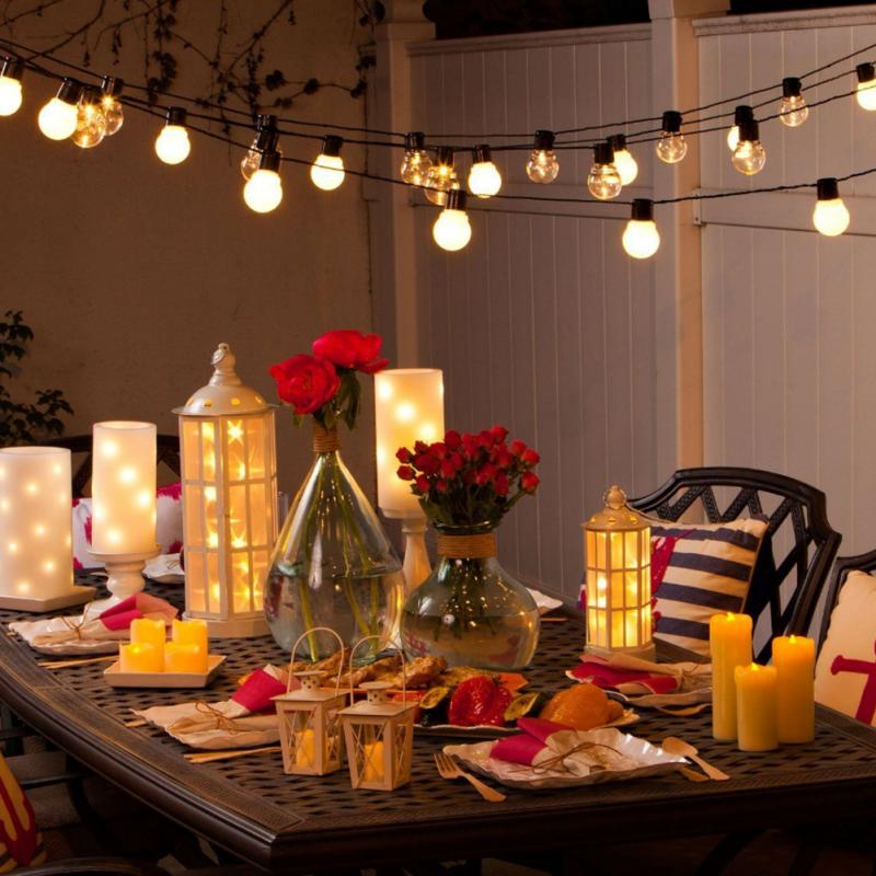 Outdoor Patio String Lights 20 LED G45 Globe Clear Warm White Bulbs Frosted  US ...
