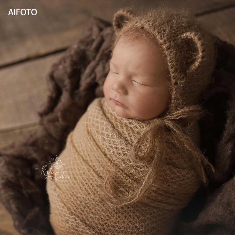 2019 nuevo 40.100, 150x165cm accesorios de fotografía recién nacido para fondo bebé foto Stretch enrejado Wraps Cocoon Backdrops Flokati