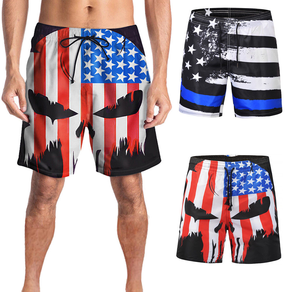 Summer Beach Shorts For Men American Flag Print Swimwear Trunk Board Shorts Black And Red Sportwear Plus Size M-2XL