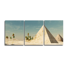 Laeacco  3 Panel Places of Interest Wall Artwork Picture Canvas Paintings Pyramid Posters and Prints Living Room Home Decoration