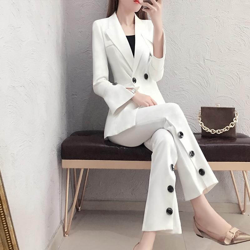 2019 Costume Et Nouveau Mode Tempérament Dames White Tendance Femelle Deux De Lâche Mince Automne Femmes pièce Sauvage Blanc Pantalon Printemps jUMqpLSVGz