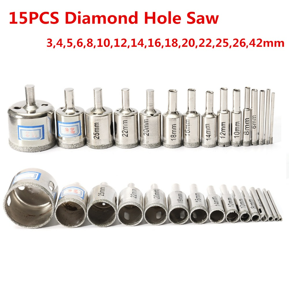 15pcs Hole Saw Set Marble Core Drill Bits 3mm-42mm Diamond Cutter Tool for Glass Marble Tile Ceramic Glass Cutting Drilling 2pcs 28mm diamond coated core drill bits glass tile granite marble ceramics hole saw metal opener cutter bits drilling tool