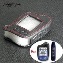 Jingyuqin M13 M14 deri kılıf scher khan Magicar 13 14 m110as otomatik sinyalleri araba alarmı uzaktan kumanda LCD anahtarlık kapak