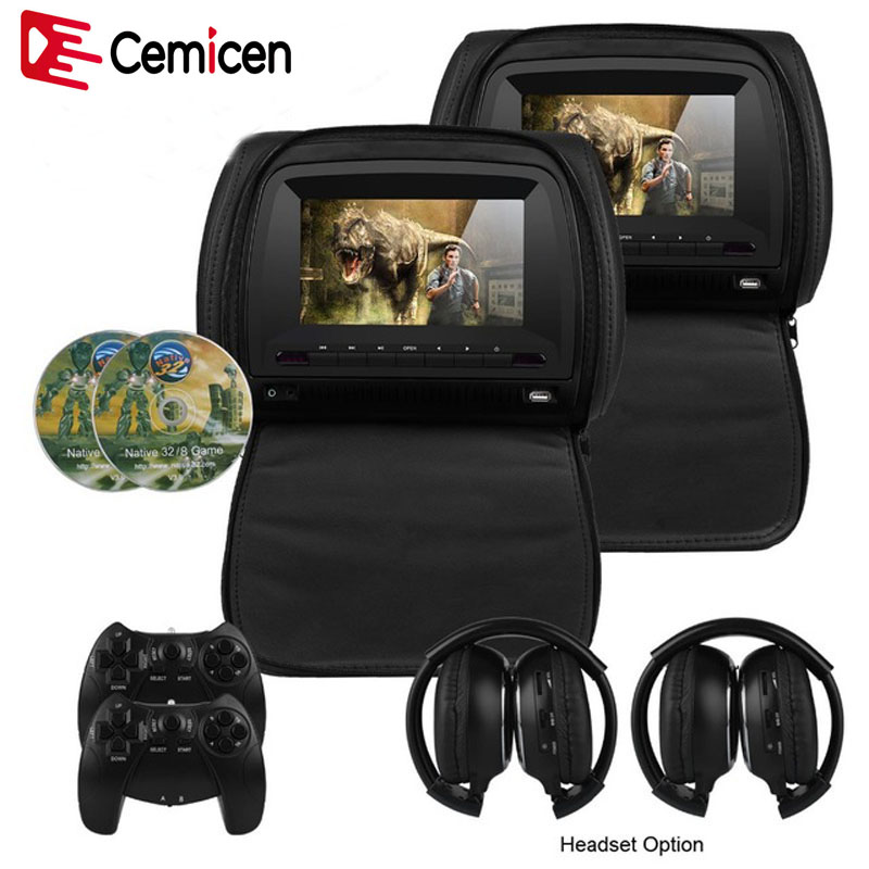 Cemicen 2PCS 7 Inch Car Headrest Monitor DVD Video Player 800x480 Zipper Cover TFT LCD Screen
