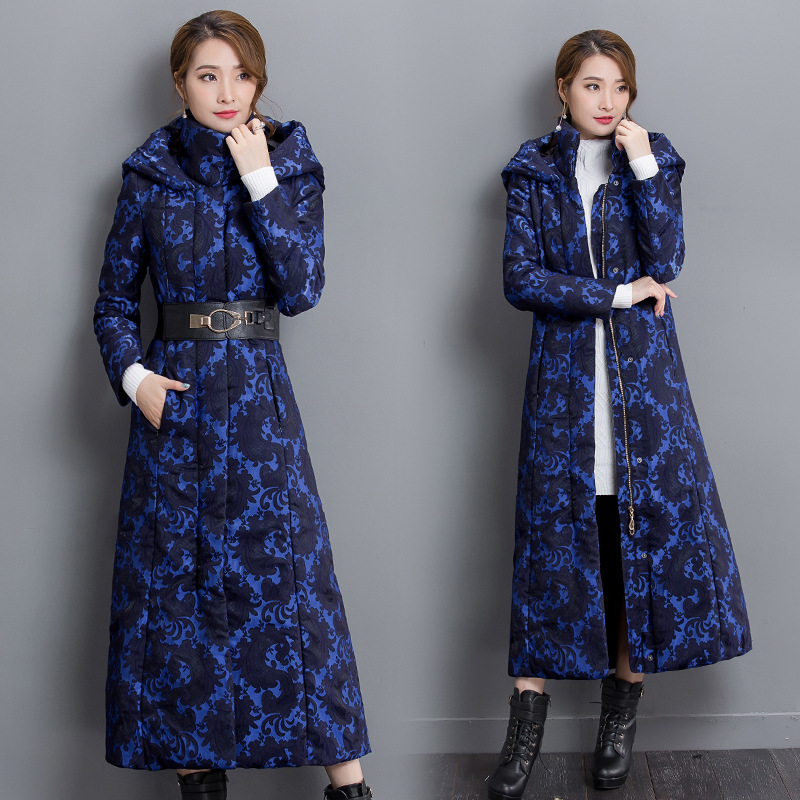 ФОТО Outerwears Winter fashion printing women 's Coat long cotton Slim thick warm blue personality windbreaker