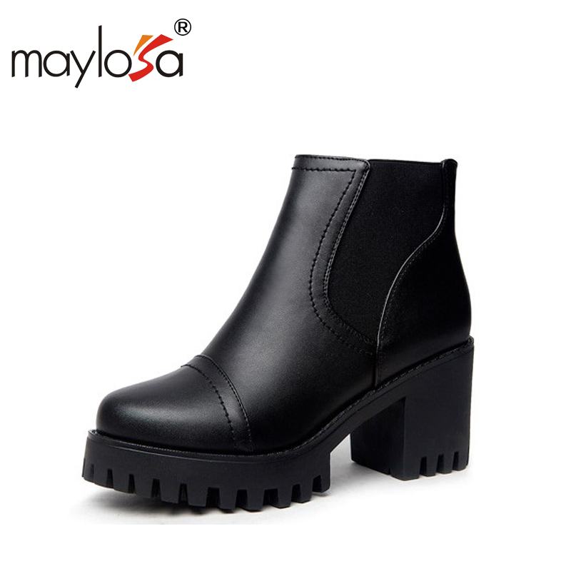 MAYLOSA Woman Winter Wool Biker Boots Genuine Leather Shearling Chelsea Boots Black Fashion Lace Up Wool Snow Martins Botas gretel wool boots
