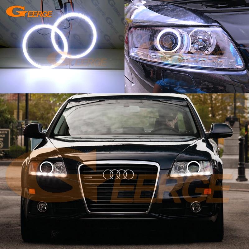Для Ауди А6, S6 и RS6 на 2009 2010 2011 Ксеноновые фары отлично ангел глаз Ультра яркое освещение cob светодиодные ангел глаза комплект