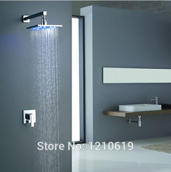 Newly US Free Shipping Wholesale And Retail Wall Mounted Color Changing LED Chrome Rain Shower Faucet Rainfall 8 Shower Head free shipping wholesale and retail solid brass bathroom rain shower head chrome finished showerhead