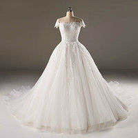 Backlackgirl High Quality Ball Gown Cap Formal Beaded Formal Bride Luxury Dresses New 2018 Real Photo Wedding Dress Custom Made