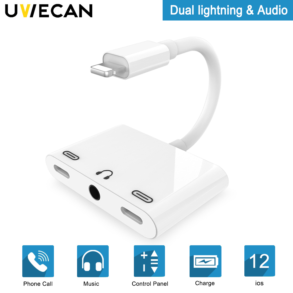 3 In 1 Adapter For Lightning To Dual Charging and 3.5mm Headphone Jack Audio Adapter For iPhone X/8/8Plus/7P/7 For iOS 10.3-12