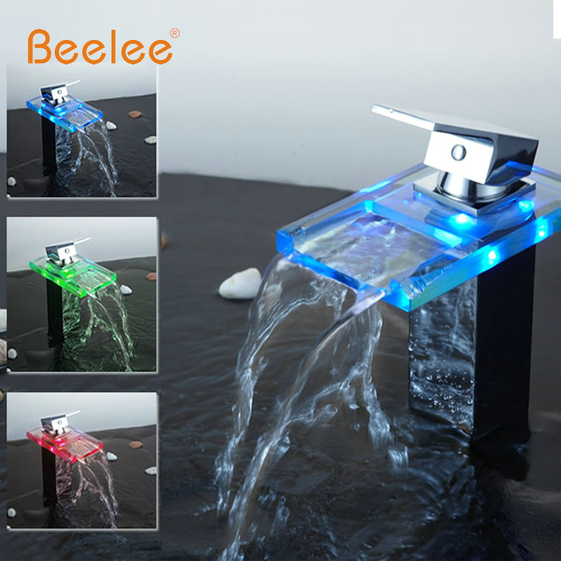 цена на Beelee New Waterfall 3 Colors LED Need Battery Bathroom Basin Mixer Tap Sink Glass Chrome Brass Deck Mounted Faucet BL0818