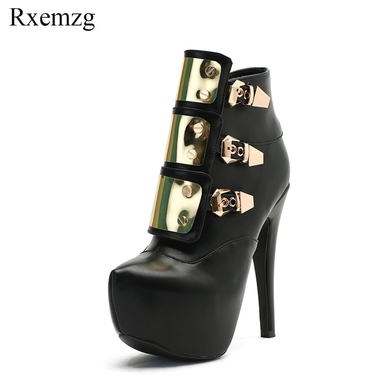 Rxemzg new sexy punk women ankle boots metal decoration pointed toe high heel black chelsea boots pumps platform shoes for womenRxemzg new sexy punk women ankle boots metal decoration pointed toe high heel black chelsea boots pumps platform shoes for women