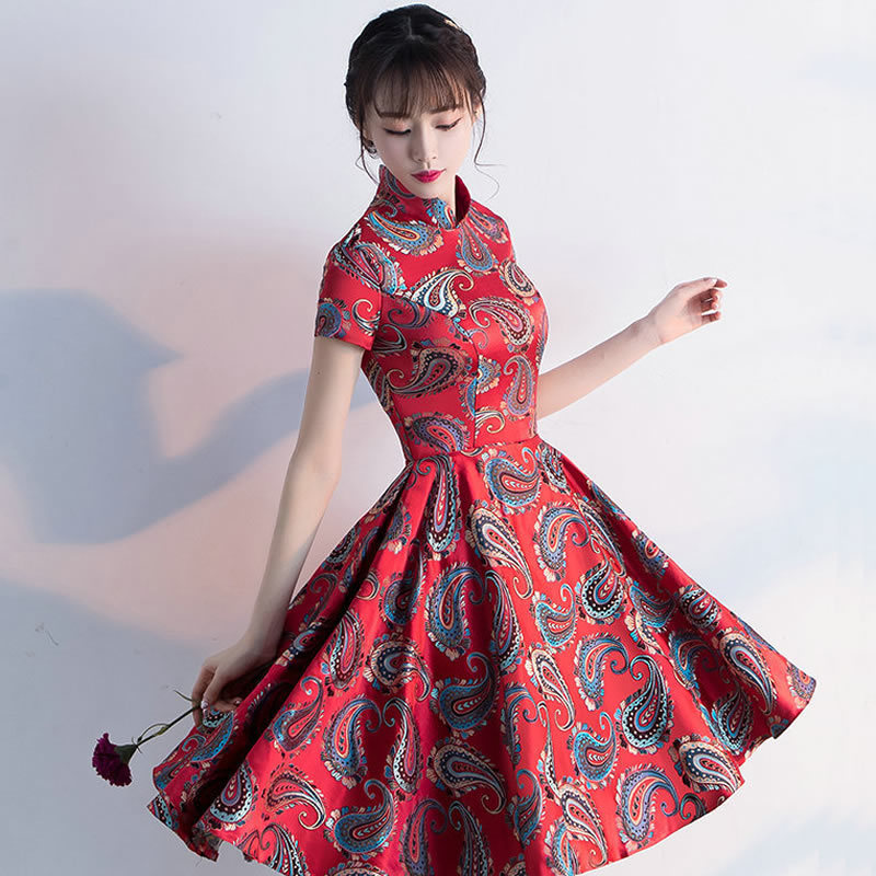 Traditional Chinese Antiques Party Dresses Bride Red -3034