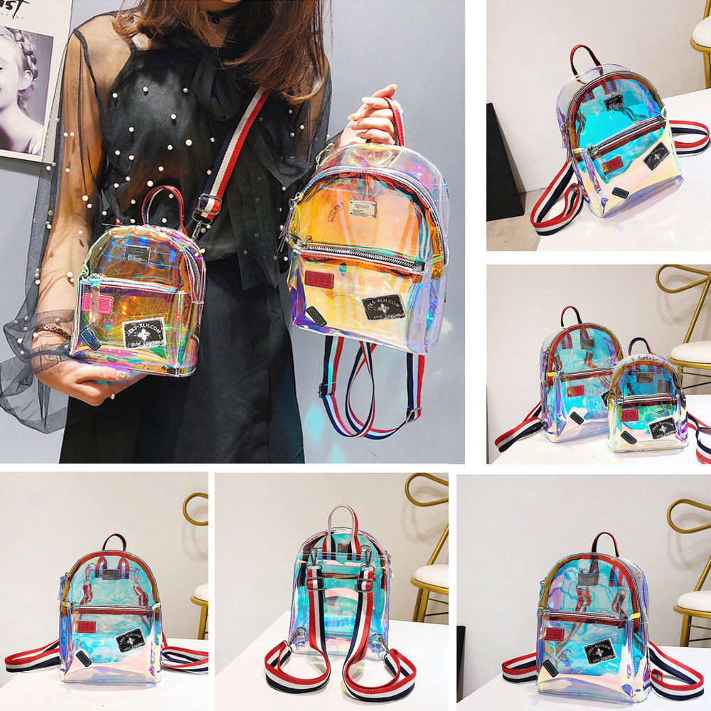New Fashion Girl Clear Transparent See Through PVC Mini Backpack School Book Bag Laser Jelly Transparent Backpack