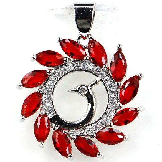 Páva Vörös Vörös Rubin, Cz Női Párt 925 Ezüst Pendant - Divatékszer
