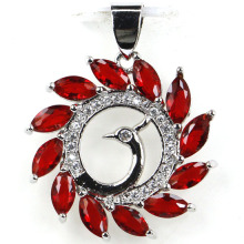 Peacock Red Blood Ruby, Cz Mujer Party 925 Silver Pendant 28x23mm