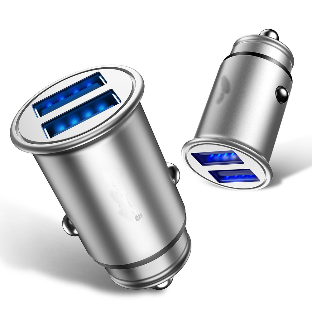 Car Charger Metal 4.8A/24W Mini Dual USB Port Fast Charge Power Adapter Flush Fit for iPhone,Samsung,Huawei,Xiaomi Smart Phone