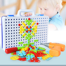 Hot Assemble Building Blocks Suitcase Children DIY Jigsaw Puzzle Toys Electric Drill Screws Kids Children Educational Toy Gifts