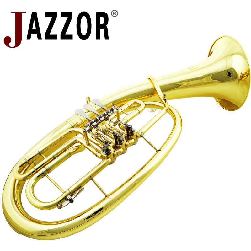 JAZZOR JZBT 310G Professional baritone horn B Flat Gold lacquer Baritone brass wind instrument with mouthpiece & baritone case