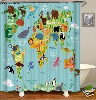 Mapa świata tkanina zasłona prysznicowa zasłony do łazienki wodoodporna zasłona do łazienki zasłona zasłona wanny do domu kurtyna lub mata tanie i dobre opinie Foxscream CN (pochodzenie) POLIESTER Europejska PLANT show curtain Na stanie Ekologiczne 90cm--180cm 180cm--200cm bathing curtain