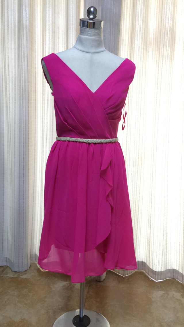 Gardlilac Chiffon V neck Short Bridesmaid Dress Sleeveless Fuchsia ...