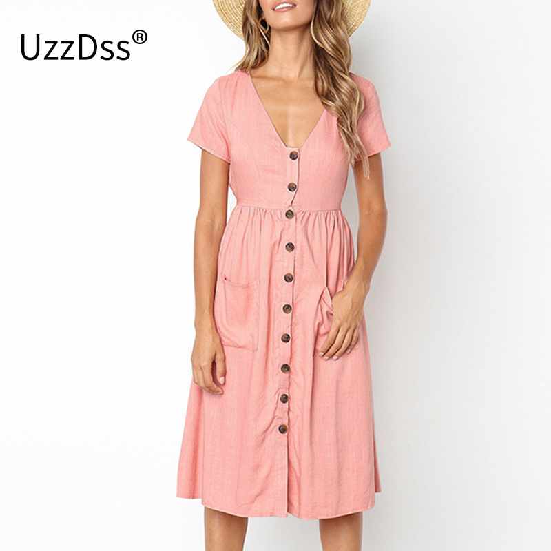 UZZDSS 2018 Women's Fashion Summer Short Sleeve V Neck Button Down Swing Midi Dress with Pockets Beach Summer Dress 8 Colors