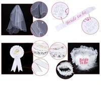 4pcs Set Sash Veil Badage Leg Belt For Bachelor Bachelorette Hen Party Bride To Be Wedding