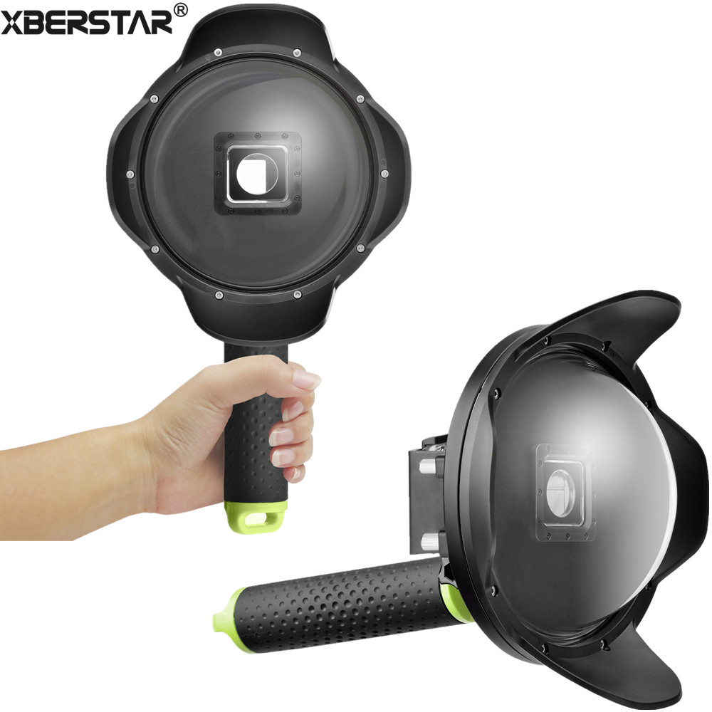 6 Underwater Diving Camera Fisheye Wide Angle Lens Dome Port Handgrip Waterproof Housing Case for Xiaomi Yi 2 4K Action Camera 30 mi diving dome port underwater lens housing for xiaoyi 4k xiaoyi 2 camera with waterproof case hood cover case pistol tigger