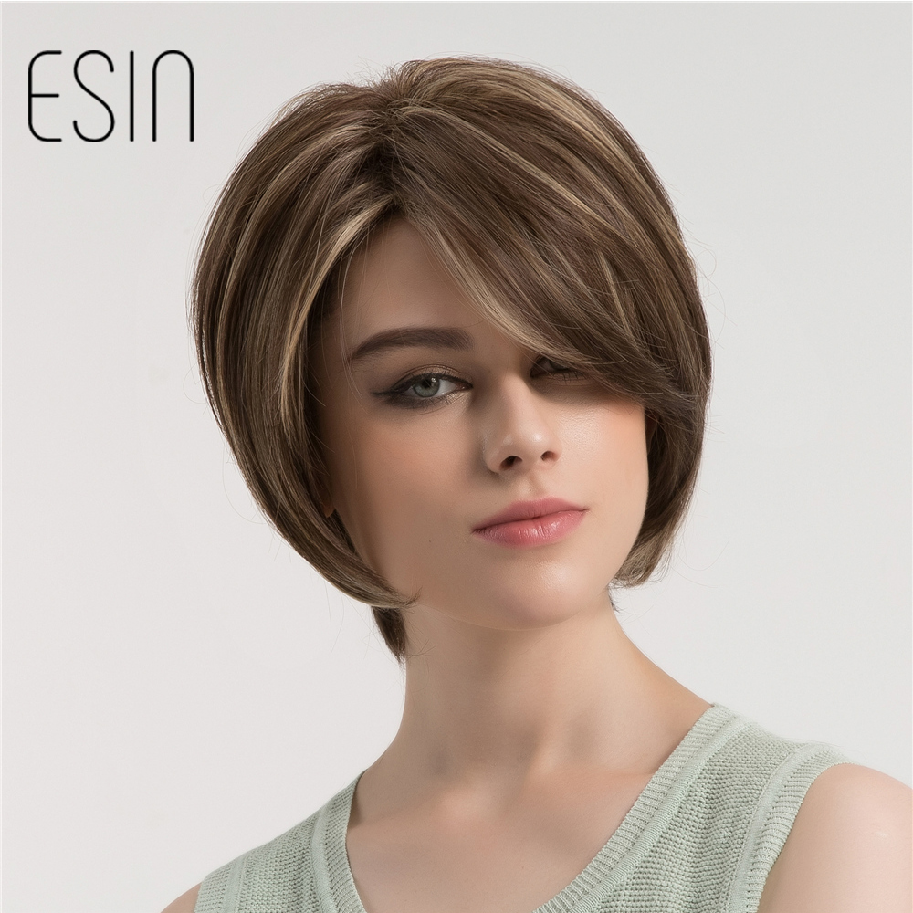 Esin Short Straight Hair Wig with Side Parting Dark Brown Hair Blonde Highlights Synthetic Fluffy Layered Haircuts Womens Wig