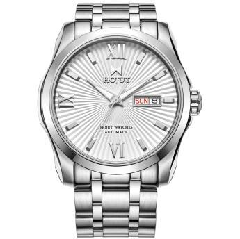 HOJUT 3042 men dual calendar 316lL stainless steel strap and case business leisure wristwatch automatic mechanical  atches calendar 2017 a5 calendar handbook of efficiency for industry and commerce business notepad log can be customized logo