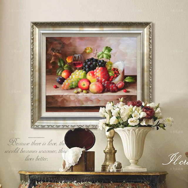 Hand Painted Flower Oil Painting Living Room Decor Grape Kitchen Fruits  Dining Room Decor Canvas Still