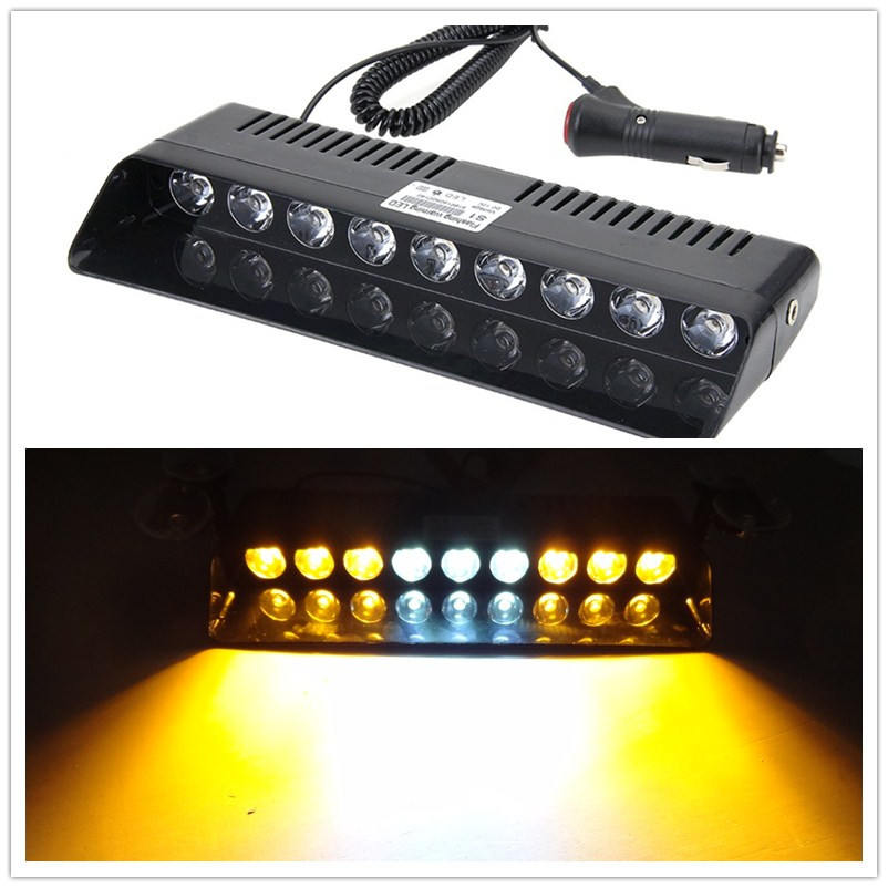 02007 Car Warning Lights 9 LED Amber Lasting Yellow Emergency Light Vehicle Car Strobe Flash Light Warning Dash Lamp 1W Switch 54 led emergency vehicle strobe lights bars warning deck dash grille amber white