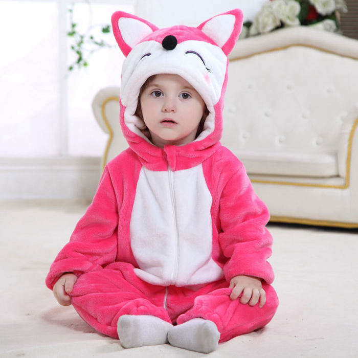 Fall 2017 Baby One Piece Animal Rompers Clothing Hot Pink Halloween Costumes for Babies Infant Clothes with Fox