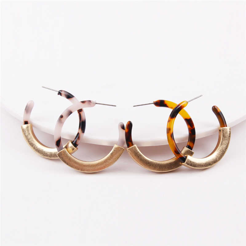 Fashion Acetate Acrylic ZA Statement Hoop Earrings For Women Gold Plating Leopard Tortoise Pendientes Wedding Bridal Jewelry Gif