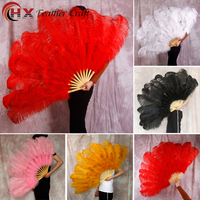 Big Ostrich Feathers Fan With Bamboo Staves for Belly Dance Halloween Party Ornament Decor Necessary 12pcs fan bones