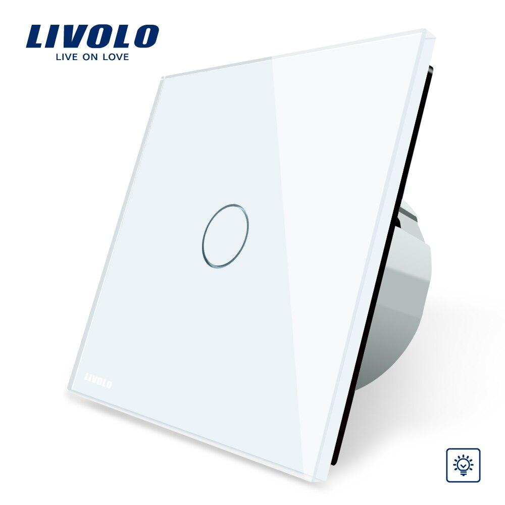 Livolo EU Standard Gradateur Interrupteur Mural, Panneau de Verre En Cristal, 1 Gang 1 Voie Variateur VL-C701D-1/2/5