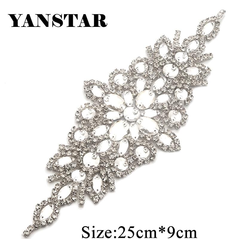 YANSTAR 2PCS Handmade Rhinestones Appliques Wedding Dresses Belt Accessory  For Bridal Sashes Sewing On Dress Belt 9138748f3cd4