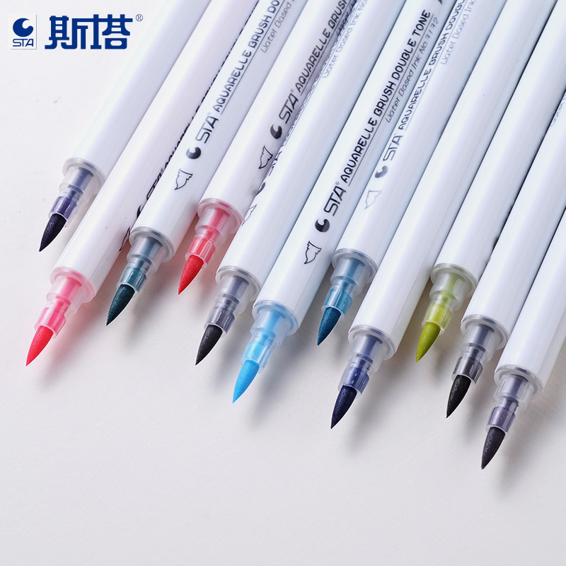 STA 14 Twin Tip Brush Markers Art and Graphic Drawing Water Based Ink Non-toxic Aquarelle Brush Double Tone 2008