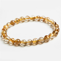 7mm Genuine Brazil Natural Yellow Hair Needle Titanium Crystal Round Beads Fashion Jewelry Women S Rutilated