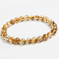 7mm Genuine Brazil Natural Yellow Hair Needle Titanium Crystal Round Beads Fashion Jewelry Women S Rutilated