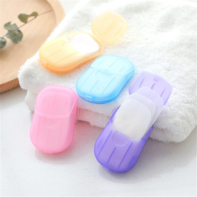 20 piezas caja desechable de jabón de viaje al aire libre de papel de jabón para lavar el baño de la mano Limpieza de hojas de rebanadas perfumadas portátil Mini jabón de papel