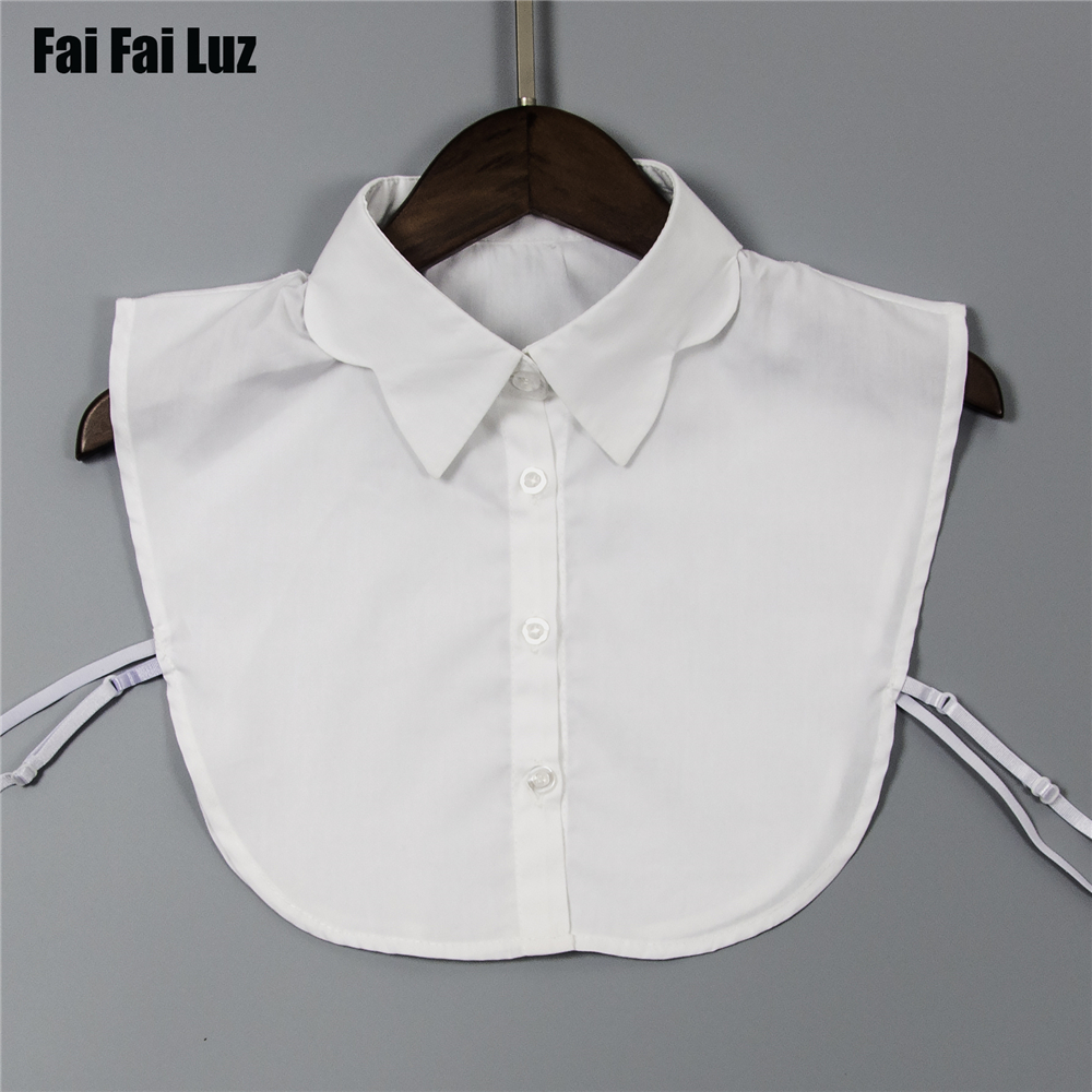 Womens Collars White Cotton Pointed Scallop Collar Shirt Detachable