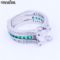 Vecalon Female Male Luxury Jewelry Engagement Ring Green Zircon Cz 925 Sterling Silver Wedding Band Ring