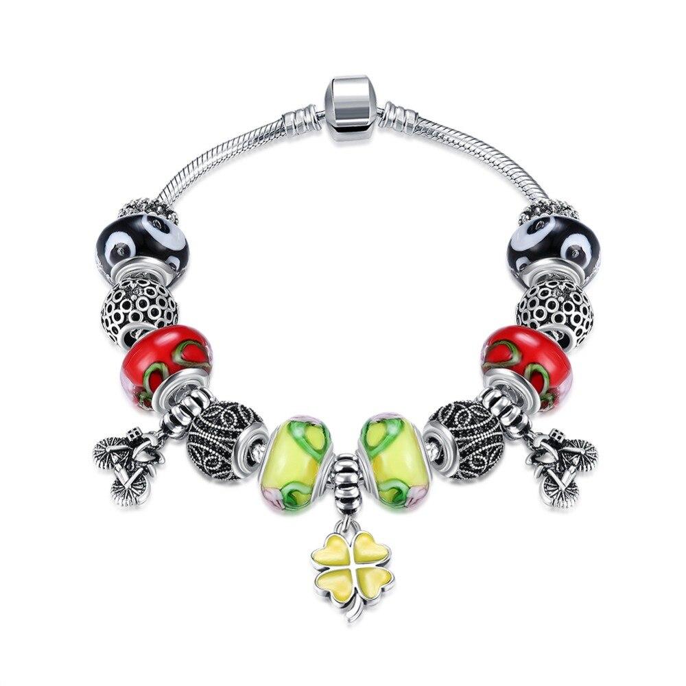 925 Silveryellow Clover Bracelet Pandor Beads Fit Authentic Bracelet Pendant Jewelry Pulsera Plata De Ley 925 Pulseira Prata