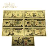 7 unids/lote de billetes de colores de Estados Unidos, 1, 2, 5, 10, 20, 50 nuevos 100 dólares, billetes dorados en papel dorado de 24K para colección