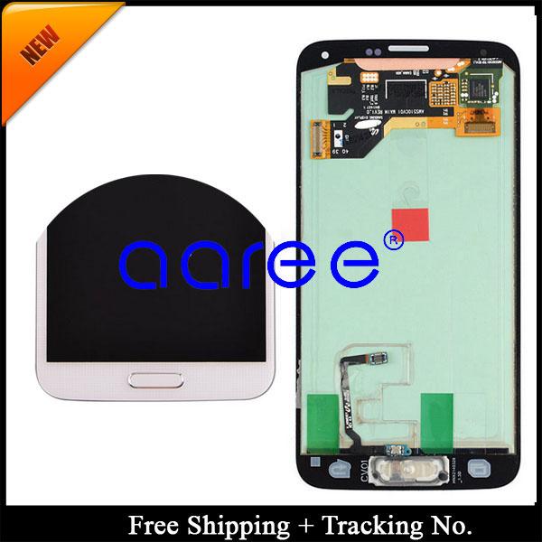 Prix pour Livraison gratuite test test pour samsung galaxy s5 g900 g900f lcd affichage tactile assemblée d'écran avec bouton + autocollant-blanc/noir