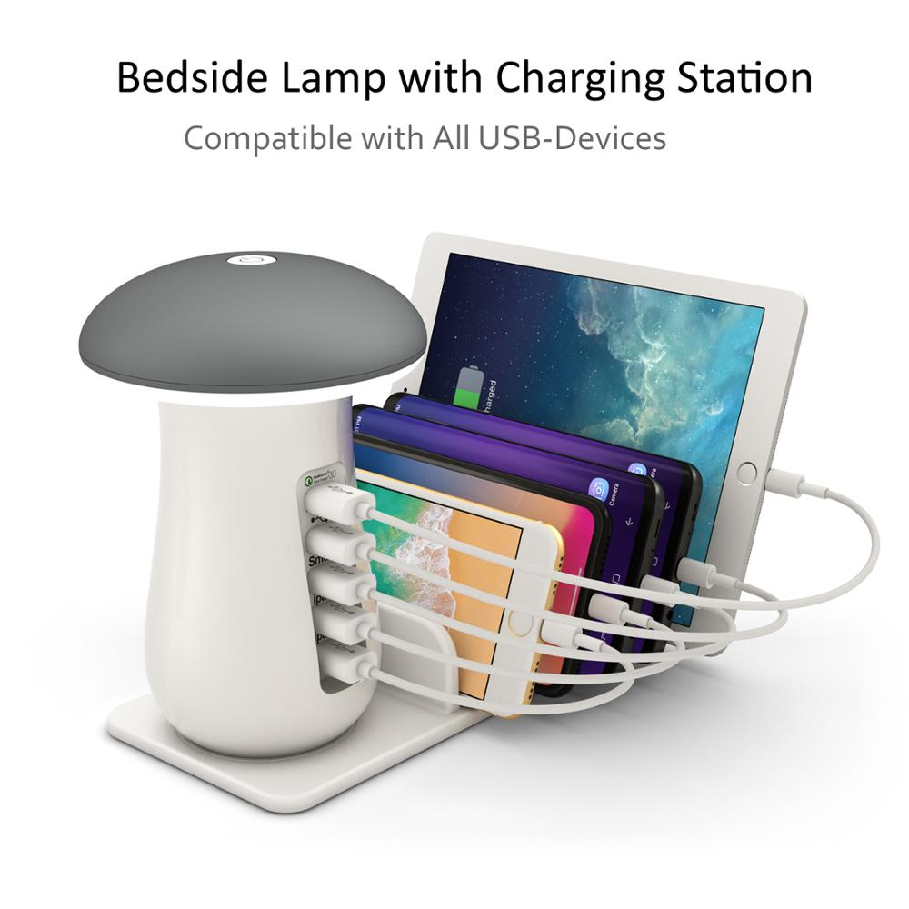 Charging Station,Charging Stand Organizer With Mushroom LED Desk Lamp-3.0 Quick Charge Multiple <font><b>Charger</b></font> Docking Station image