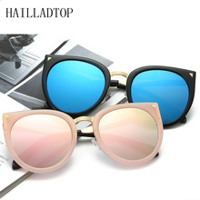 HAILLADTOP Cat Eye Brand Designer Female Vintage Oval UV400 Oversize eye Driving Sun Glasses with box New