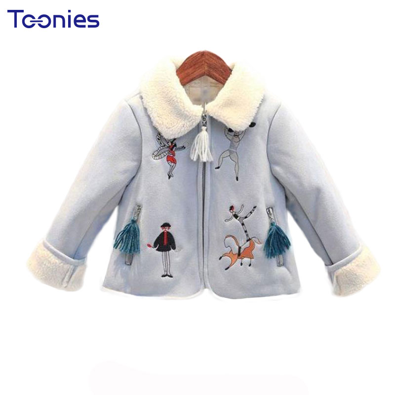 2017 Winter Warm Jackets Girls Cotton Long Sleeve Baby Girl Clothes Cute Cartoon Tassel Kids Coat Embroidery Children Outerwear 2017 winter baby coat kids warm cotton outerwear coats baby clothes infants children outdoors sleeping bag zl910