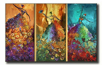 Hand Painted Oil Paintings Modern Abstract Colorful Dancing Women Painting Indoor Wall Art Picture Home Decoration